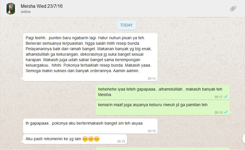 Testimoni Resep Bunda Catering Wedding