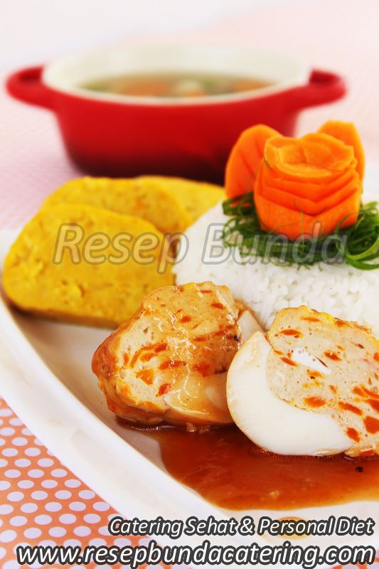 Menu Catering Nasi Box : Telur Isi Daging